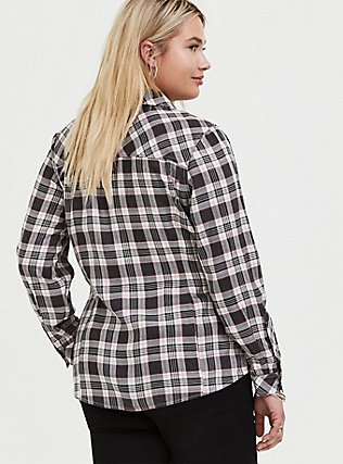 Plus Size Taylor - Black Plaid Twill Button Front Relaxed Fit Shirt, PLAID, alternate