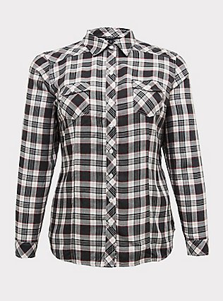 Plus Size Taylor - Black Plaid Twill Button Front Relaxed Fit Shirt, PLAID, flat