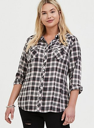 Plus Size Taylor - Black Plaid Twill Button Front Relaxed Fit Shirt, PLAID, hi-res