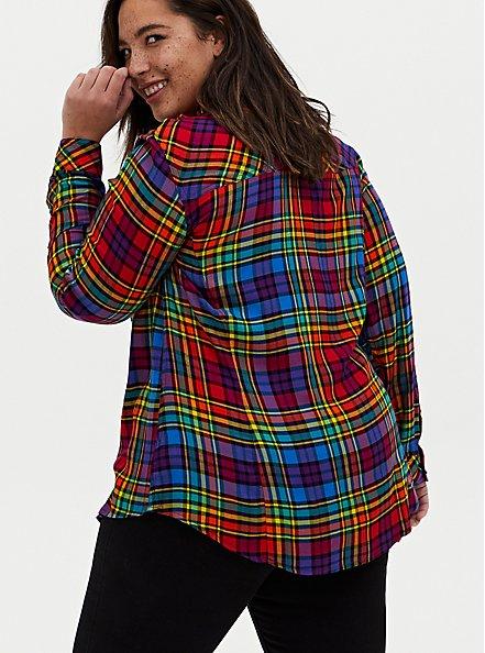 Taylor - Celebrate Love Rainbow Plaid Twill Button Front Slim Fit Shirt , PLAID, alternate