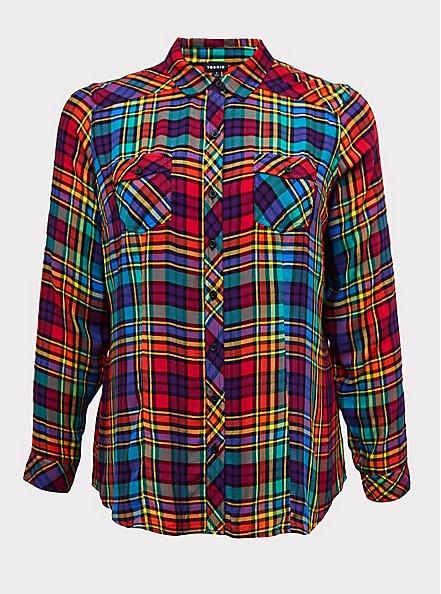 Taylor - Celebrate Love Rainbow Plaid Twill Button Front Slim Fit Shirt , PLAID, hi-res