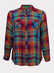 Taylor - Celebrate Love Rainbow Plaid Twill Button Front Slim Fit Shirt , PLAID, hi-res