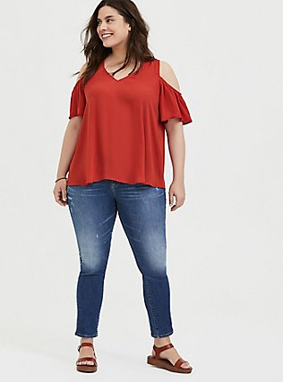 Plus Size Red Terracotta Georgette Cold Shoulder Blouse, KETCHUP, alternate