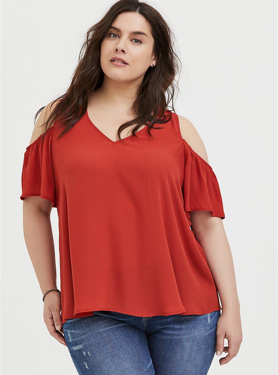 Red Terracotta Georgette Cold Shoulder Blouse, KETCHUP, hi-res