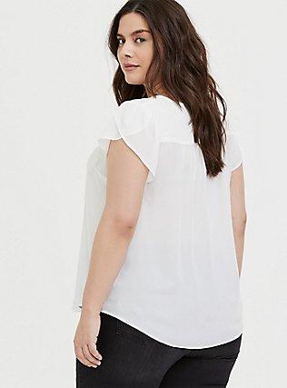 White Georgette Tulip Sleeve Blouse, CLOUD DANCER, alternate