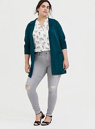 Plus Size Harper - White Zebra Print Stretch Challis Pullover Blouse, ZEBRA - WHITE, alternate