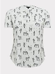 Plus Size Harper - White Zebra Print Stretch Challis Pullover Blouse, ZEBRA - WHITE, hi-res