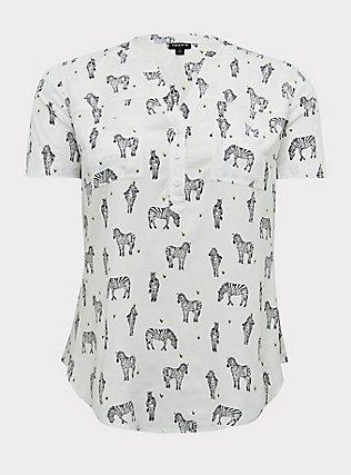 Plus Size Harper - White Zebra Print Stretch Challis Pullover Blouse, ZEBRA - WHITE, flat