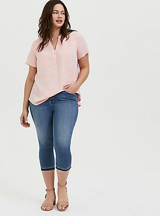 Plus Size Harper - Peach Pink Stretch Challis Pullover Blouse, BLOSSOM-PINK, alternate