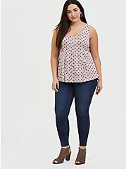 Mauve Pink Polka Dot Challis Button Fit & Flare Tank, DOTS - PINK, alternate