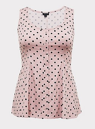Blush Pink Polka Dot Challis Button Fit & Flare Tank, DOTS - PINK, flat