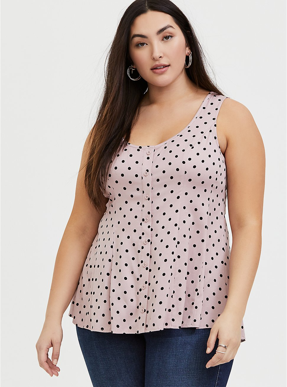 Mauve Pink Polka Dot Challis Button Fit & Flare Tank, DOTS - PINK, hi-res