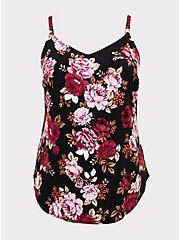 Ava - Black Floral Challis Cami , FLORAL - BLACK, hi-res