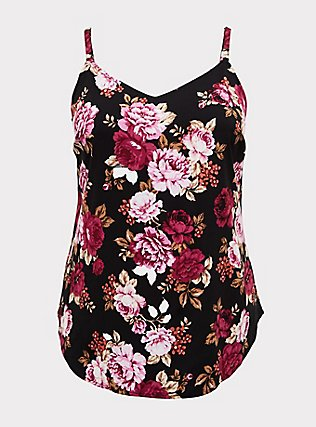 Plus Size Essential Black Floral Stretch Challis Cami , FLORAL - BLACK, flat