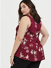 Red Wine Floral Challis Fit & Flare Tank, FLORAL - RED, alternate