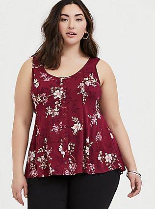 Plus Size Berry Purple Floral Challis Fit & Flare Tie Tank, FLORAL - RED, hi-res