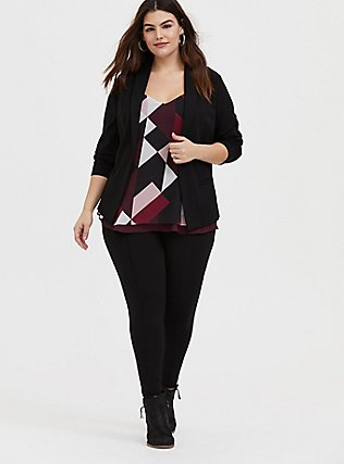 Plus Size Sophie - Burgundy Multi Geo Chiffon Double Layer Swing Cami, GEO - PURPLE, alternate