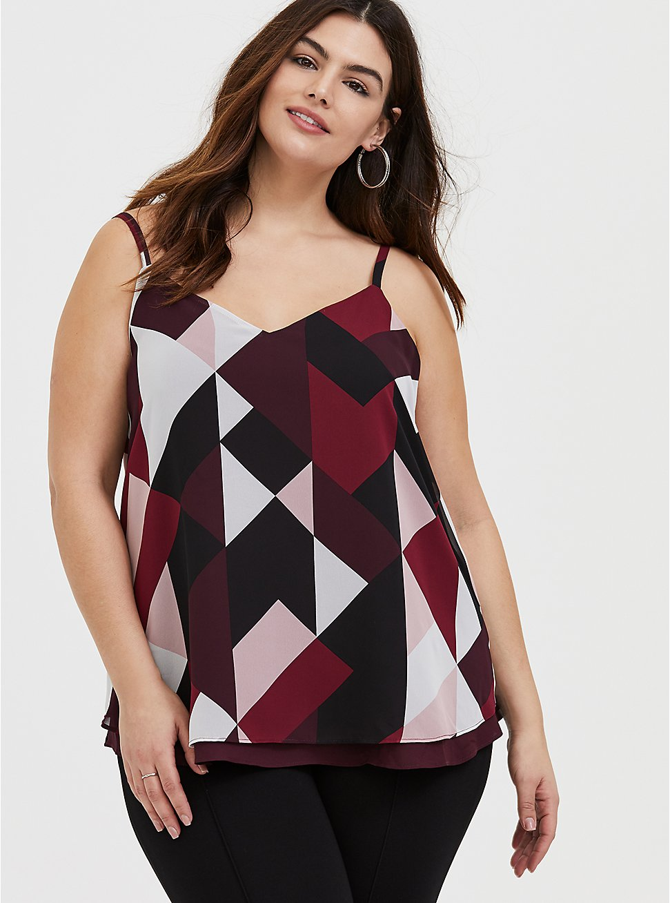 Sophie - Burgundy Multi Geo Chiffon Double Layer Swing Cami, GEO - PURPLE, hi-res