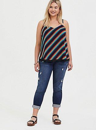 Plus Size Sophie - Black & Rainbow Stripe Chiffon Double Layer Swing Cami , STRIPES, alternate