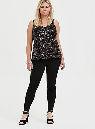 Plus Size Black Leopard Heart Challis Fit & Flare Button Front Cami, PAISLEY-BLACK, alternate