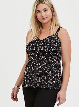 Plus Size Black Leopard Heart Challis Fit & Flare Button Front Cami, PAISLEY-BLACK, hi-res