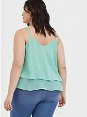 Jade Green Chiffon Double Layer Handkerchief Swing Cami  , SEA GLASS GREEN, alternate