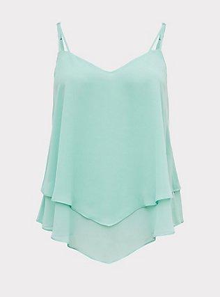 Jade Green Chiffon Layered Swing Cami  , SEA GLASS GREEN, flat
