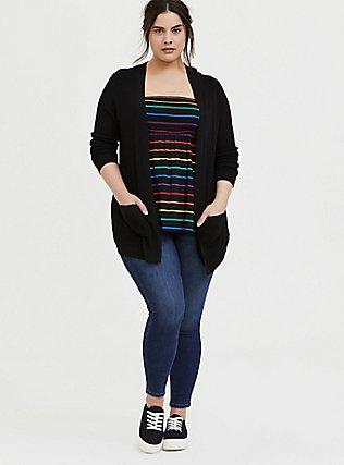 Plus Size Black & Rainbow Stripe Challis Smocked Strapless Top, STRIPES, alternate