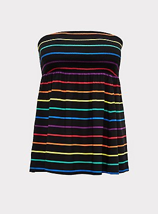 Plus Size Black & Rainbow Stripe Challis Smocked Strapless Top, STRIPES, flat