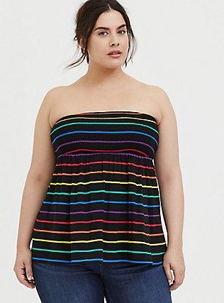 Plus Size Black & Rainbow Stripe Challis Smocked Strapless Top, STRIPES, hi-res