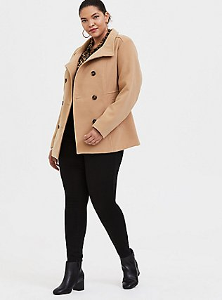 Tan Double-Breasted Peacoat, CAMEL, alternate