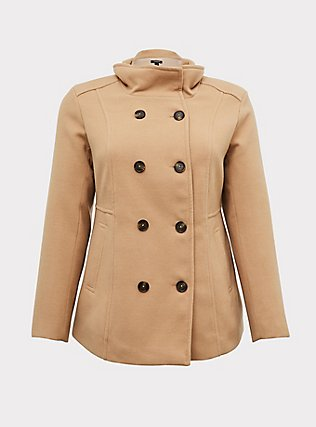 Tan Double-Breasted Peacoat, CAMEL, flat
