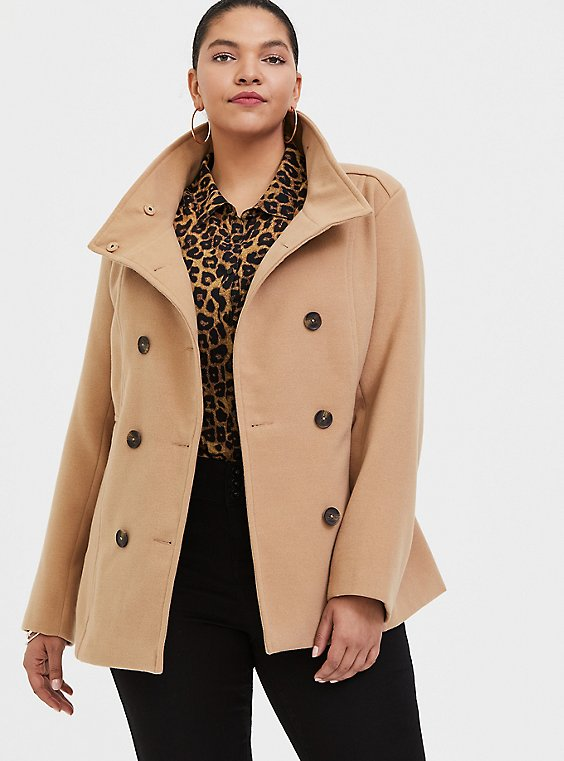 Tan Double-Breasted Peacoat, , hi-res