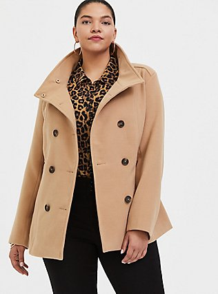 Tan Double-Breasted Peacoat, CAMEL, hi-res