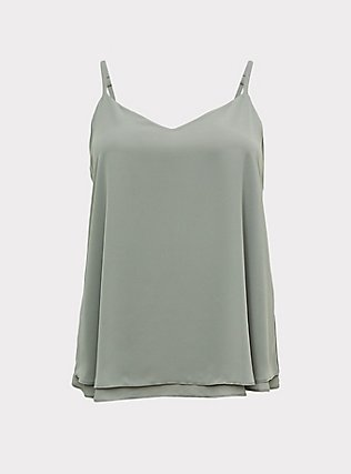 Plus Size Sophie - Sage Green Chiffon Double Layer Swing Cami, MOON MIST, flat
