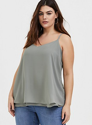 Plus Size Sophie - Sage Green Chiffon Double Layer Swing Cami, MOON MIST, hi-res