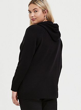 Plus Size Black Rib Zip Hoodie, DEEP BLACK, alternate