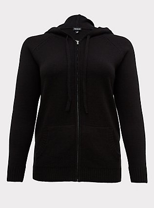 Plus Size Black Rib Zip Hoodie, DEEP BLACK, flat