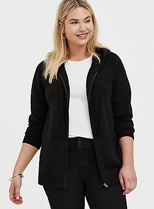 Plus Size Black Rib Zip Hoodie, DEEP BLACK, hi-res