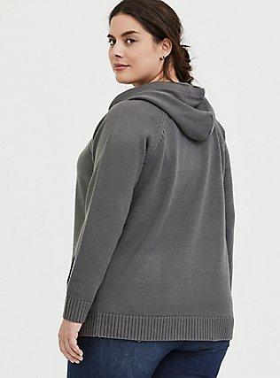 Dark Grey Rib Zip Hoodie, SMOKED PEARL, alternate