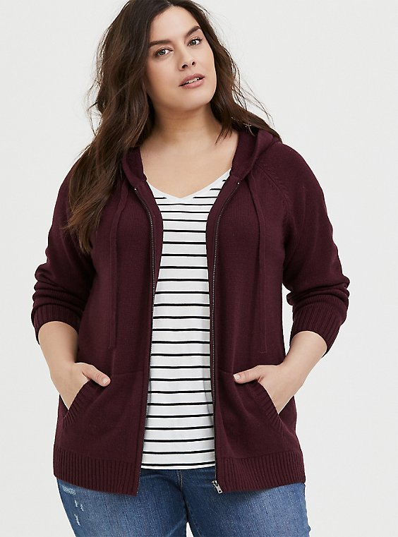 Plus Size Burgundy Purple Rib Zip Hoodie, , hi-res
