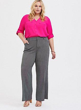 Grey Textured Structured Wide Leg Pant, GREY, alternate