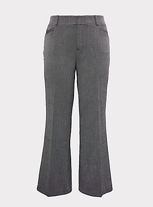 Grey Textured Structured Wide Leg Pant, GREY, flat