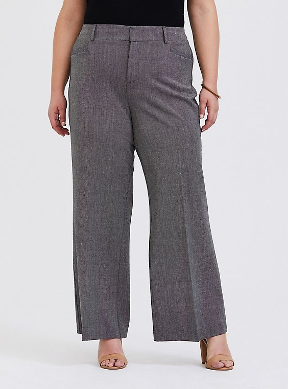 Grey Textured Structured Wide Leg Pant, , hi-res