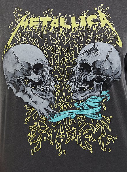 Metallica Skull Grey Mineral Wash Pullover Sweatshirt, DEEP BLACK, alternate