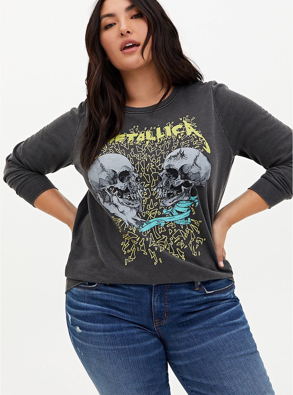 Metallica Skull Grey Mineral Wash Pullover Sweatshirt, DEEP BLACK, hi-res