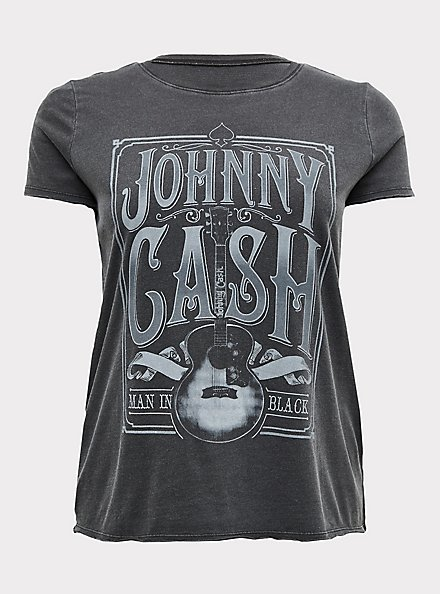 Johnny Cash Black Mineral Wash Crew Tee, DEEP BLACK, hi-res
