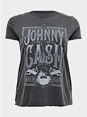 Johnny Cash Black Mineral Wash Crew Tee, DEEP BLACK, hi-res
