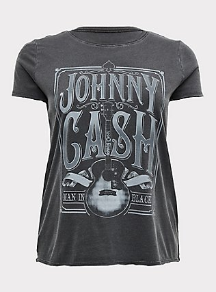 Plus Size Johnny Cash Black Mineral Wash Crew Tee, DEEP BLACK, flat