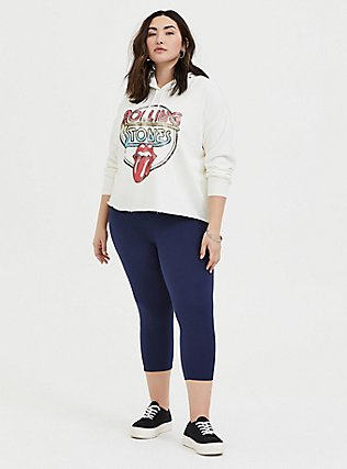 Plus Size Rolling Stones Ivory French Terry Crop Hoodie, WHITE, alternate